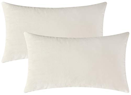 (Mixhug Set of 2 Cozy Velvet Rectangle Decorative Throw Pillow Covers for Couch and Bed, Cream, 12 x 20 Inches)