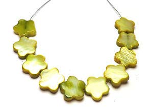 Apple Yellow Green Flat Flower Mother of Pearl 10! Beads 117T 9x1mm to 10x2mm Crafting Key Chain Bracelet Necklace Jewelry Accessories Pendants ()