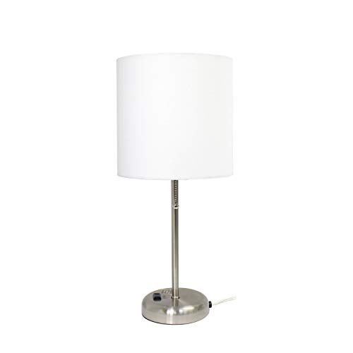 Limelights LT2024-WHT Brushed Steel Lamp with Charging Outlet and Fabric Shade, White by Limelights (Image #4)