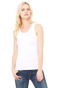 Bella Ladies Baby Rib 100% Cotton Tank Top. 1080 - White 1080 XL