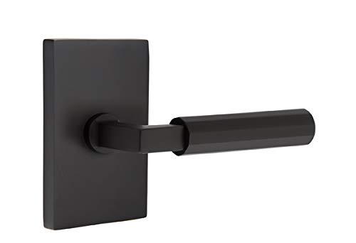 (Emtek Select Passage, Modern Rectangular Rosette, L-Square Stem, Faceted Lever, Flat Black, RH)