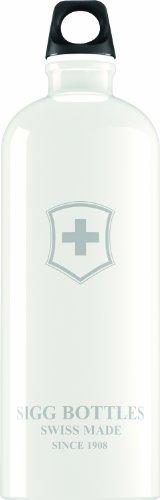 Sigg Swiss Emblem Water Bottle, 1-Liter, White
