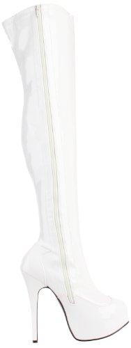 Bordello Plateau Stiefel TEEZE-3000 - Lack Weiß 42,5 EU