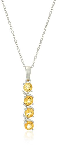 Sterling Silver Genuine Citrine Four Stone Pendant Necklace, 18""