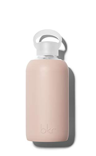 bkr BPA-Free Silicone Sleeve Glass Water Bottle, 16oz / 500 ml - Naked - Opaque Light Chocolate Milk Nude