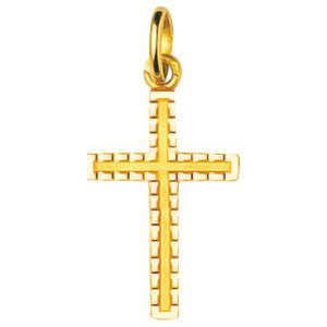 So Chic Bijoux © Pendentif Croix Christ Jésus Crucifix Bords Stylisés Or Jaune 750/000 (18 carats)