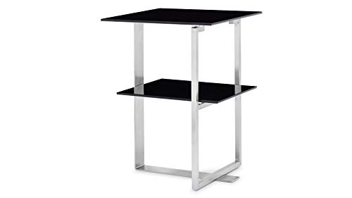 Zuri Furniture Modern Thanet End Table - Black Opaque Glass Top and Brushed Stainless Steel Base