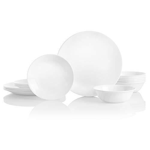 Best Corelle Service for 6, Chip Resistant, Winter Frost White Dinnerware Set, 18-Piece