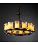 Justice Design GLA-8763-16-WTFR-NCKL Dakota - Twelve Light Tall Ring Chandelier, Glass Options: WTRF: White Frosted Glass Shade, Choose Finish: Brushed Nickel Finish, Choose Lamping Option: Standard Lamping