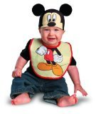 Disguise Costumes Drool Over Me Disney Mickey Mouse Infant Bib and Hat  Accessory, Black/Red/Tan, 0-12 Months -