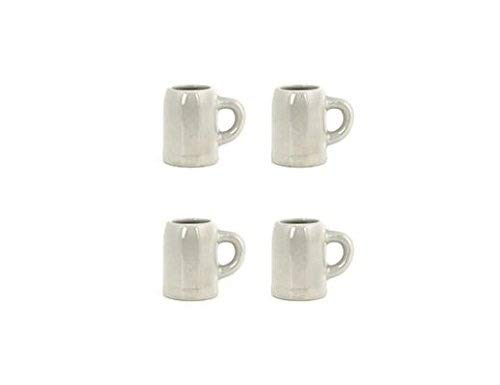 Kikkerland Beer Stein Shot Glass Set, Set of 4 White Mug Shot Glasses (Funny Shot Glasses) (Beer Stein Set) ()