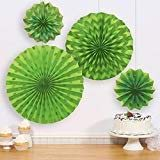 Kiwi Lime Glitter Printed Paper Fan Decorations (4ct)