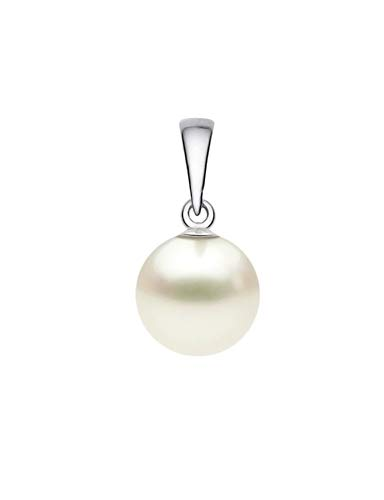 14k White Gold AAAA Quality Japanese Cream Akoya Cultured Pearl Pendant (7.5-8mm) ()