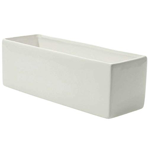 Glossy White Ceramic Planter - 4 x 12 Inches - Urban Rectangular Pot for Succulents - Modern Planter for Office or Home