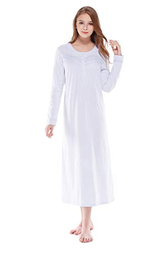 Keyocean Nightgown for Women 100% Cotton Long Sleeves Long Nightshirt Light Blue - Long Lightweight 100% Cotton