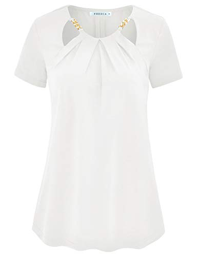 Fresca Women Cut Out Pleated Keyhole Neck Short Sleeve Casual Work Blouse Shirts White Medium