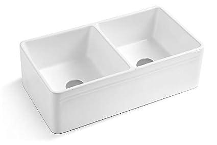 White Double Bowl Farmhouse Sink.Lottare 200137 White Double Bowl Fireclay Farmhouse Sink 50