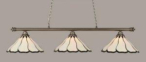 Toltec Lighting 373-BN-912 Oxford - Three Light Billiard, Brushed Nickel Finish with Pearl Flair Tiffany Glass (Toltec Billiard Lighting)