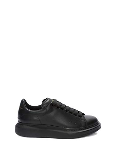 _ALEXANDER MCQUEEN Women's&Men's Black Leather Oversized Leather Casual Sports Shoes Fashion Sneakers Walking Shoes (EU 42)