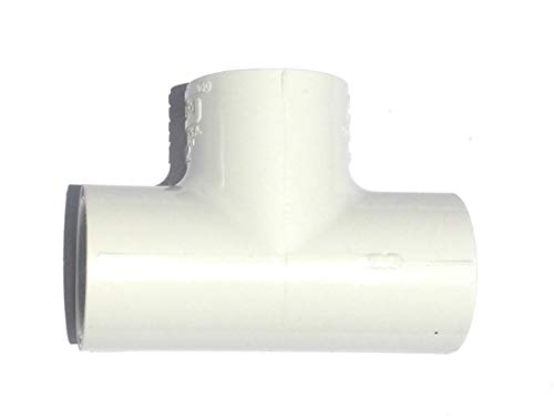Spears 401 Series PVC Pipe Fitting, Tee, Schedule 40, White, 1/2