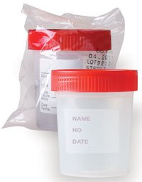 Globe Scientific 5912 Polypropylene Specimen Container with Red 1/4 Turning Screw Cap and Tri-Lingual ID Label, Sterile, Individually Wrapped, Graduated, 4oz Capacity (Case of 100)