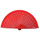 La Señorita Spanish Flamenco Fan wood Hand Fan Dress costume red with white dots