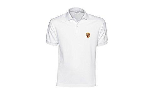 Porsche Crest White Polo - Shirt Golf Porsche