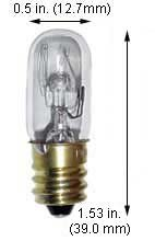 Incandescent Light Bulbs 15T4 130V Clear (Case of 10)