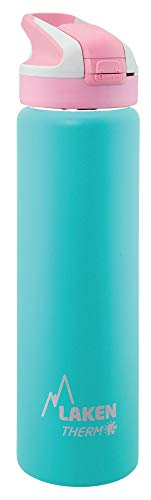 Laken Thermo Summit Stainless Steel Insulated Water Bottle, Sport Straw Cap w/Lock, Leakproof, 25oz, Turquoise