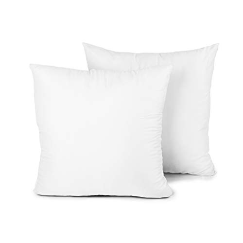 Edow Throw Pillow Insert, Set of 2 Hypoallergenic Down Alternative Polyester Square Form Decorative Pillow, Cushion,Sham Stuffer. (White, 18x18) -