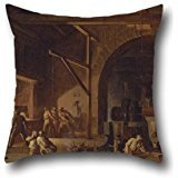 Oil Painting Godfrey Sykes - Interior Of An Ironworks Pillow Shams 16 X 16 Inches / 40 By 40 Cm Best Choice For Son,club,husband,coffee House,son,home Theater With Twice Sides