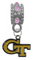 Georgia Tech Yellow Jackets PINK Rhinestone/Gem Charm with Connector - Universal European Slide On Charm - ''Classic & Original Style'' Perfect For Bracelets, Necklaces, & DIY Jewelry by CustomCharms