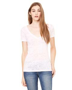 (Bella 8605 Womens Burnout Short Sleeve V-Neck Tee - Soft Pink, Extra Large)