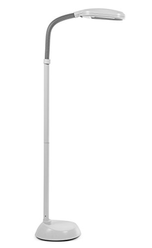 Kenley Natural Daylight Lamp - Floor Standing Reading Task Light - 27-watt Full Spectrum White Bright Sunlight Torchiere for Living Room, Bedroom or Office - Adjustable Gooseneck Arm - Grey