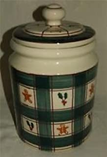 product image for Vintage Hartstone Pottery Buffalo Check Green Plaid Gingerbread & Holly Canister Cookie Jar