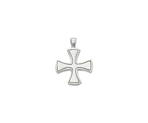 (PicturesOnGold.com Solid 14k White Gold Large Maltese Cross Pendant - 1 Inch x 1 Inch)