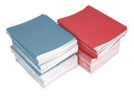SCHOOL EXERCISE BOOKS 8mm LINES with Margin BLUE COVER A5 48 Page 163 x 202mm Pack of 5