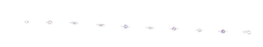 Amethyst Gemstones 10'' Anklet 14k White Gold Chain & Extension by Sophia Fine Jewelry (Image #4)