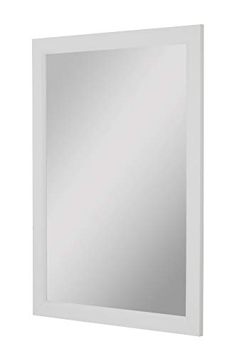 Second Look Mirrors White Satin Profile Edge Framed Wall Mirror, 34
