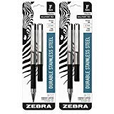 4 Zebra F-301 Compact Ballpoint Pens (2 Packs of 2), Black