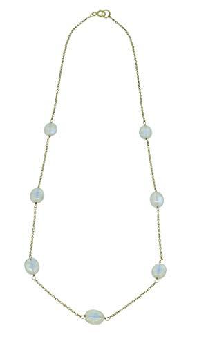 (YoTreasure Rainbow Moonstone Solid 10K Yellow Gold Chain Necklace)