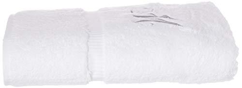 BC BARE COTTON 85-713-852-101 Bath Towel, Script Initial M-Set of 2, White & Silver