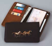 Leather Checkbook Cover / Planner with horse Embroidery 3 Running Horses Dark Brown Leather