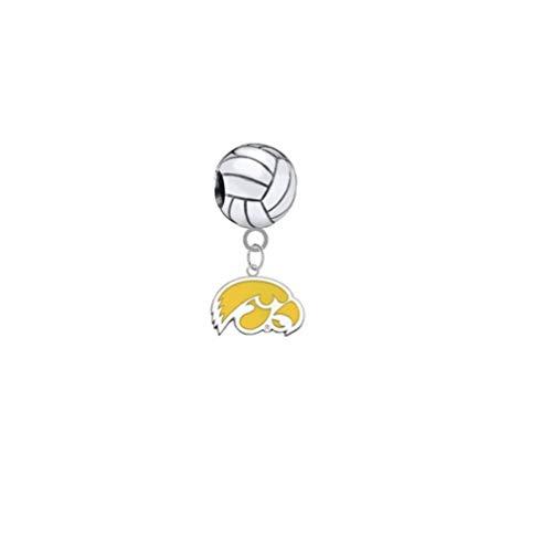 Iowa Hawkeyes Style 2 Volleyball 3D Universal European Bracelet Charm -