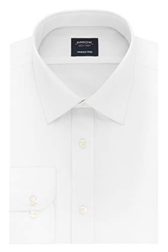 (Arrow 1851 Men's Slim Fit Dress Shirt Poplin, White 15