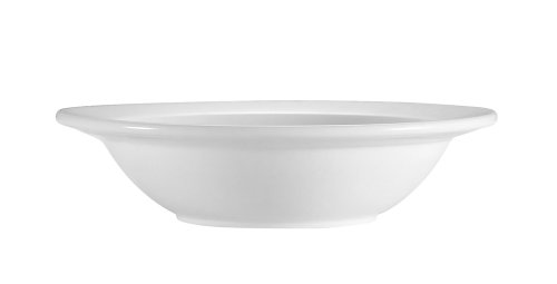CAC China RCN-10 Clinton Rolled Edge 6 3/8-Inch 13-Ounce Super White Porcelain Grapefruit Bowl, Box of -