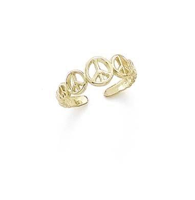 14ct Gelb Gold Peace Zeichen Zehenring JewelryWeb CCT14884Y