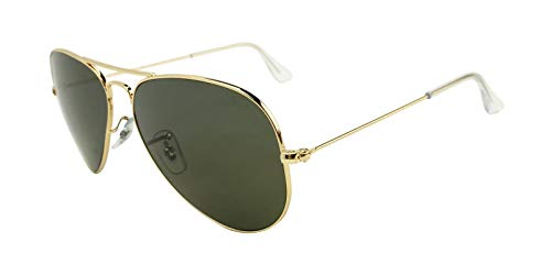 (Ray-Ban RB3025 Small Aviator Polarized Sunglasses Shiny Gold w/Crystal Green (001/58) 3025 00158 55mm Authentic)