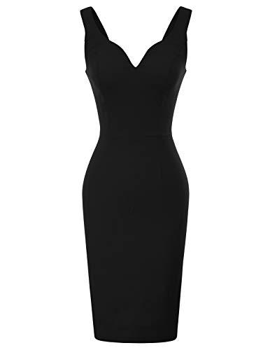 GRACE KARIN Womens Sleeveless Deep V Neck Sheath Dress XL Black