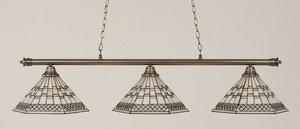 Toltec Lighting 373-BN-910 Oxford - Three Light Billiard, Brushed Nickel Finish with Pewter Tiffany Glass (Toltec Billiard Lighting)